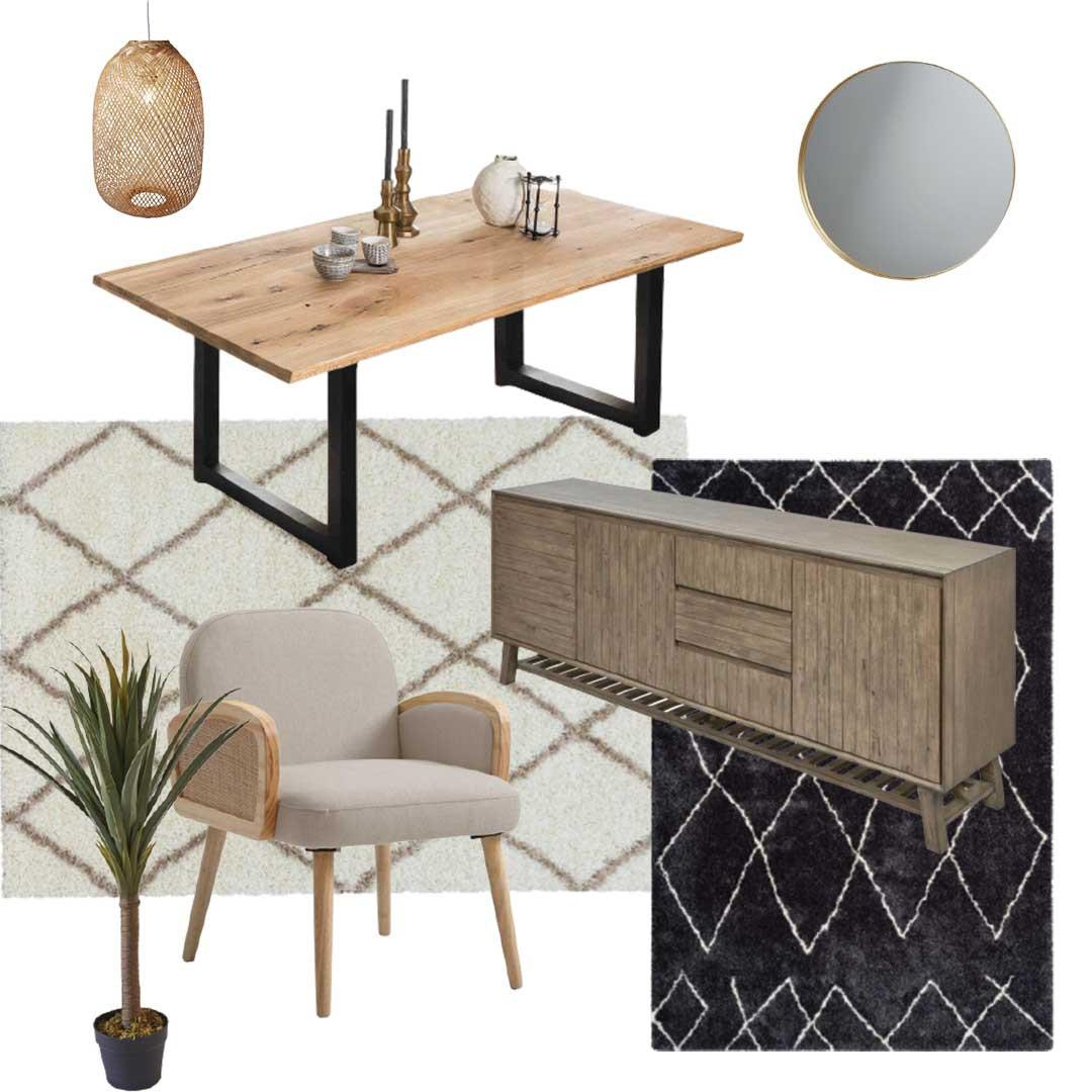 style ethnique tendance avec table et buffet en bois meuble bobochic