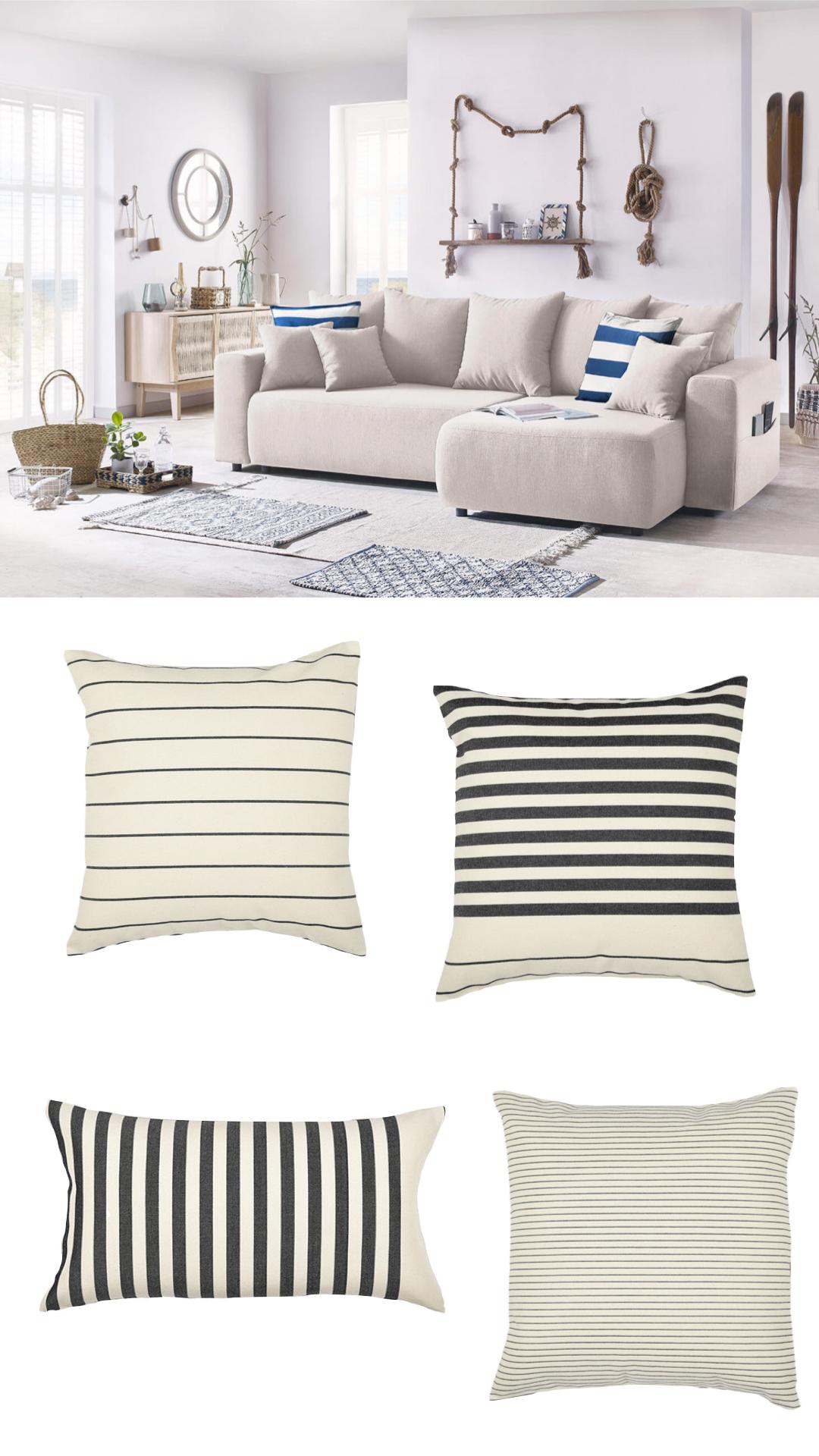 accessoiriser votre canapé coussin rayé marinière style méditerranée