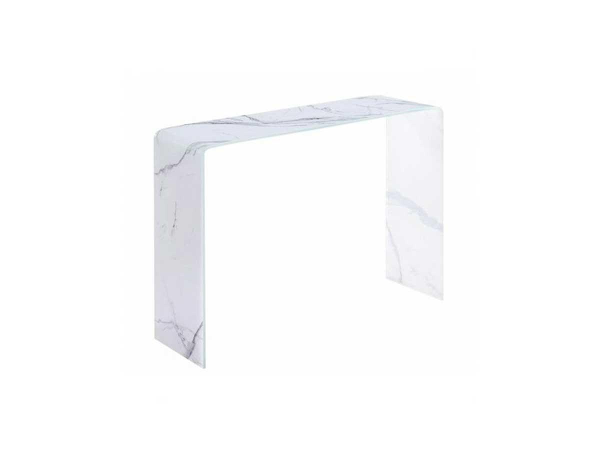 meuble console entrée verre effet marbre blanc gris avantage inconvenient