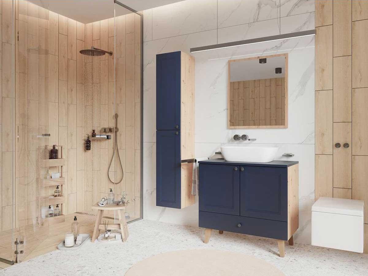 salle de bain bleue bois zen douche italienne
