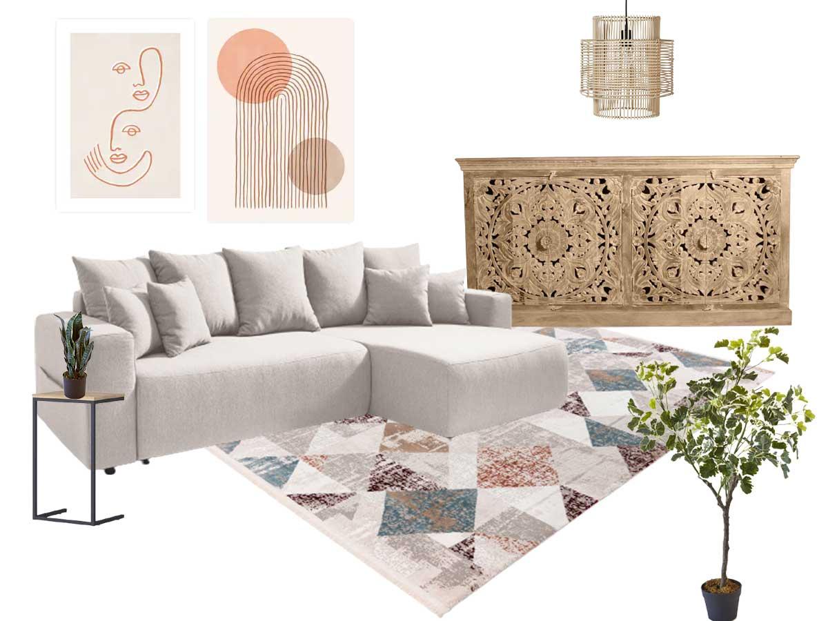 meuble bobochic style méditerranéenavec canape tapis et buffet