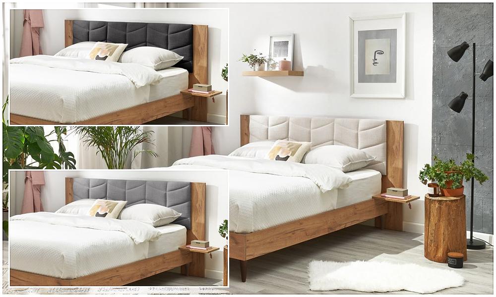 La tête de lit est disponible en trois coloris : noir, gris et beige