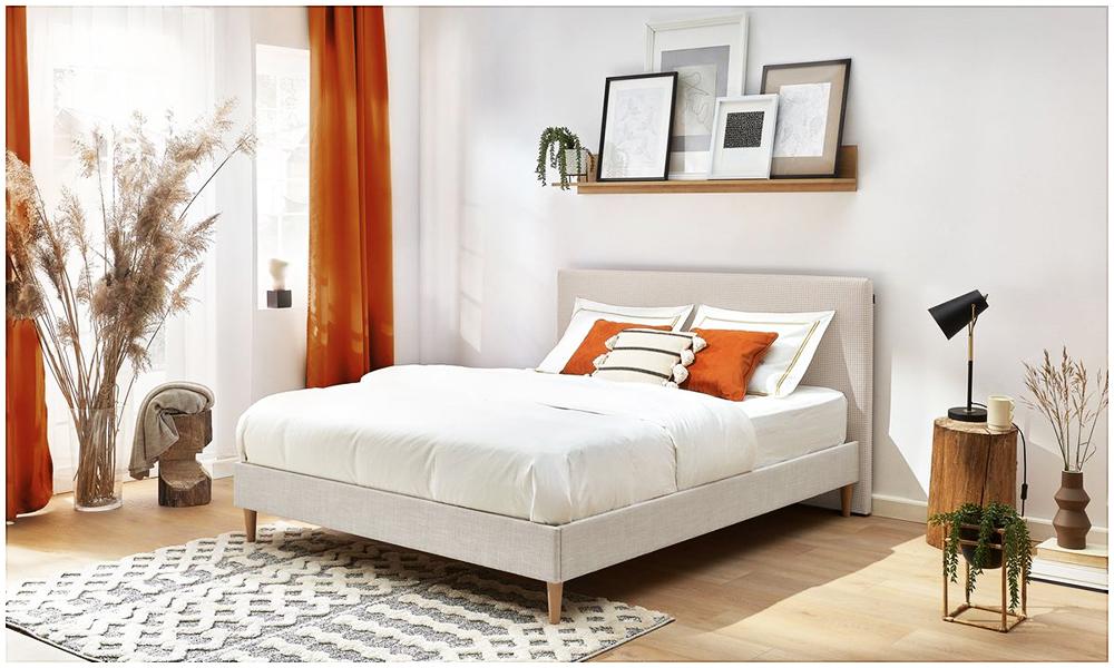 La structure de lit STELLA, en beige, classe et unique